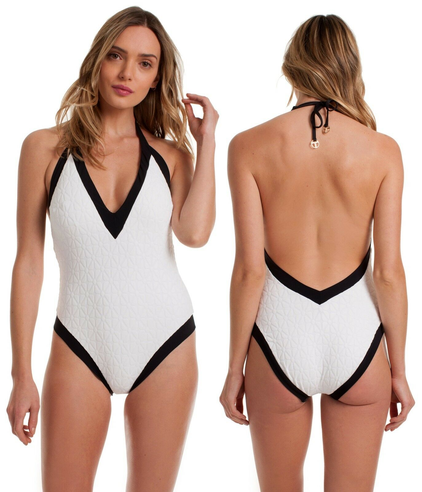 148 Trina Turk Sunshine Jacquard Plunge Halter White One Piece Swimsuit