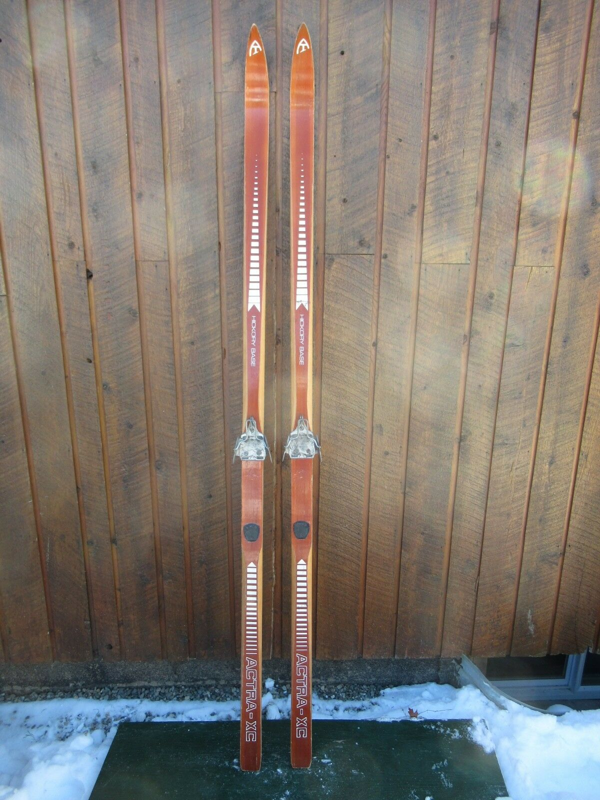OLD 77  Wooden Skis With Original BEAUTIFUL Brown Finish + Bindings