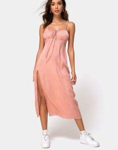 MOTEL-ROCKS-Cypress-Midi-Dress-in-Satin-Cheetah-Dusty-Pink-L-Large-MR42