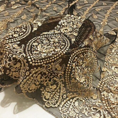 1m hell gold Blumen bestickt Stoff Spitze Netz Stoff Brautkleid Vintage DIY NEU
