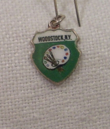 New York Bracelet//Travel Charm Vintage REU Sterling//Enamel Woodstock