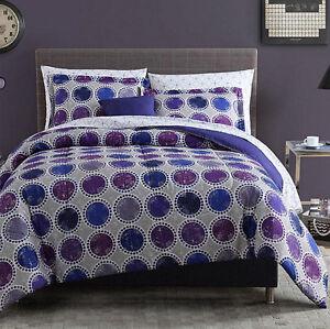 light dark purple grey polka dots 8 piece comforter bedding set full size. Black Bedroom Furniture Sets. Home Design Ideas