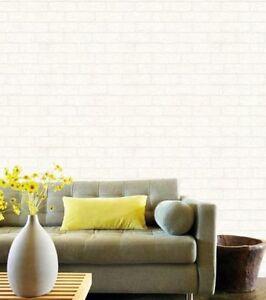 Image Is Loading Blown Vinyl Wallpaper Embossed White Brick Textured  Paintable