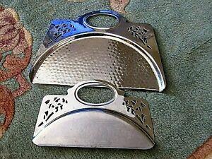 Vintage-Ensemble-2-pieces-martele-034-Farberware-034-CHROME-Crumb-table-Sweeper
