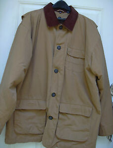 Totes-Tan-Canvas-Field-Jacket-Cotton-Lined-Chore-Barn-Hunting-Coat-Mens-L-Large
