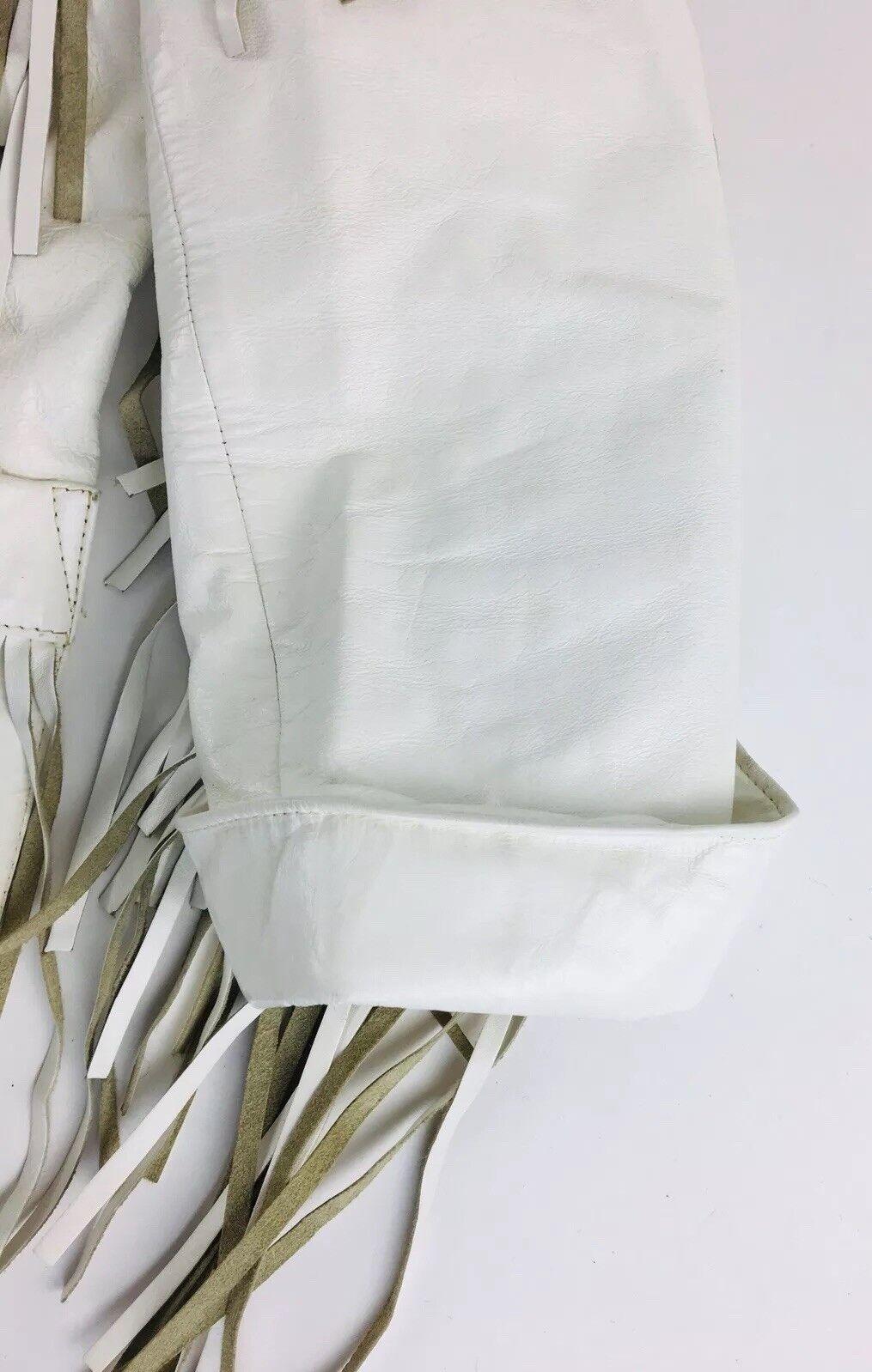 Vintage White Leather Jacket Vakko Leather Fringe… - image 4