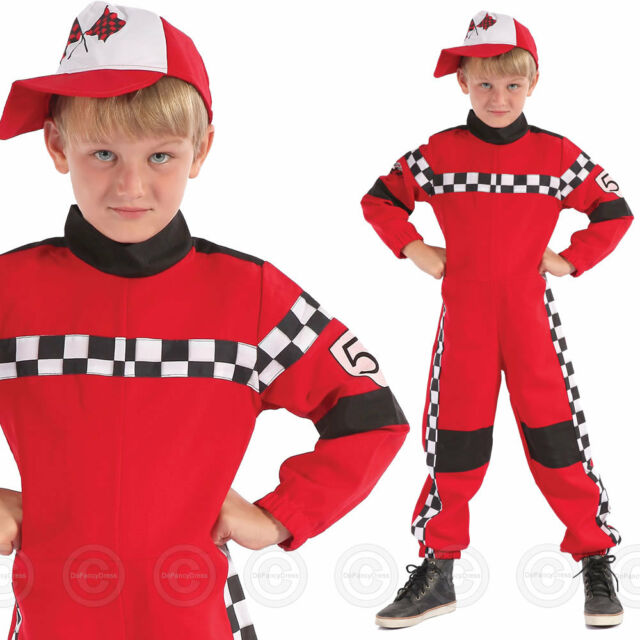 Childrens Boys Fancy Dress Party Book Week Speed Racing Driver