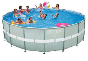 Intex 18 39 x52 round ultra frame above ground swimming pool for Intex pool handler
