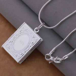 Book locket pendant necklace 925 sterling silver plate photo image is loading book locket pendant necklace 925 sterling silver plate aloadofball Gallery