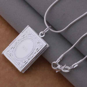 Book locket pendant necklace 925 sterling silver plate photo image is loading book locket pendant necklace 925 sterling silver plate aloadofball Images