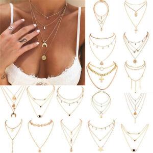 Boho-Women-Multi-layer-Long-Chain-Pendant-Crystal-Choker-Necklace-Jewelry-Gift