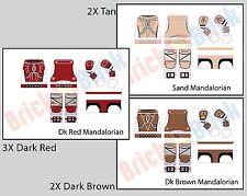 Lego Star Wars Custom Mandalorian Water Slide Decal - 3x Red, 2x Brown, 2x Tan