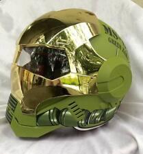 Masei 610 Green Gold Chrome Zaku Motorcycle Bike Army Gundam Arai Chopper Helmet