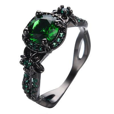 Vintage Colorful Sapphire Wedding Ring Women's 10KT Black Gold Filled Size 5-11