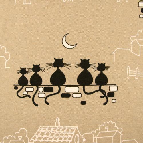 Dekostoff City Cats beige Katzen Häuser Canvasstoffe Preis gilt für 0,5 Meter