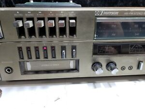 Vintage-Emerson-Turn-Table-AM-FM-Stereo-Receiver-8-Track-Cassette-Recorder-Base