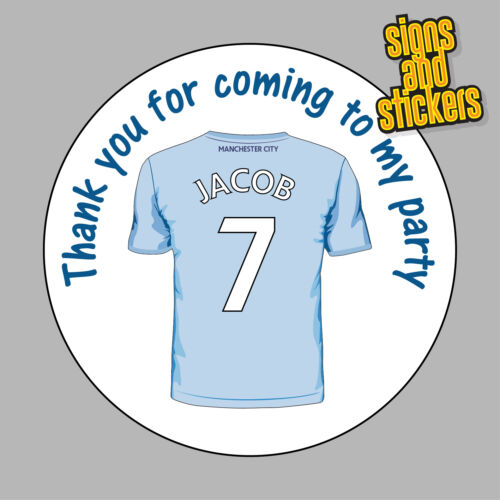 40 personalised manchester city party stickers bag seals invites any name age