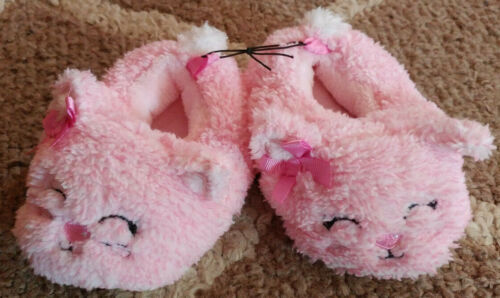Toddler Baby Girls Size 5 Pink Fuzzy Kitty Cat Bunny Slippers House Shoes New