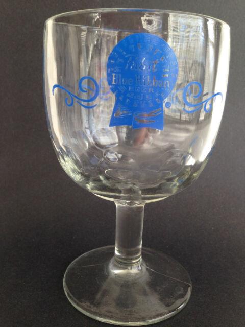 VTG Pabst Blue Ribbon Beer PBR Stemmed Goblet Glass Large 8oz Chalice Thumbprint