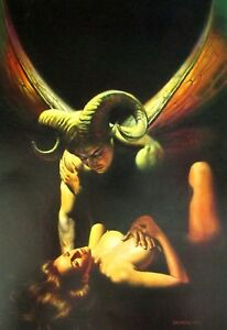 Details About Boris Vallejo Vintage Art Nude Woman Gga Horned Demon Ram Ammon Fantasy Print