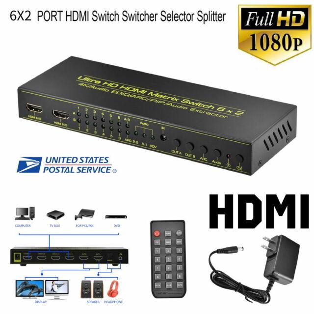 6X2 PORT HDMI Splitter Switch Selector Switcher Hub+Remote 1080p 4K x 2K