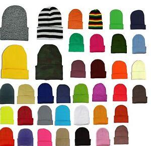 c3f89e7c24f Plain Cuff Beanie Knit Ski Cap Skull Warm Solid Color Winter Blank ...