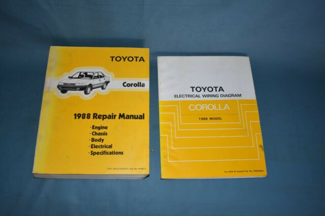 1988 Toyota Coralla Service Shop Repair Manual Set Factory Oem Wiring Diagrams