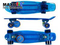 Maxofit® Mini Led Skateboard Blau, Mit Integriertem Led Lichtband Und Led Rollen