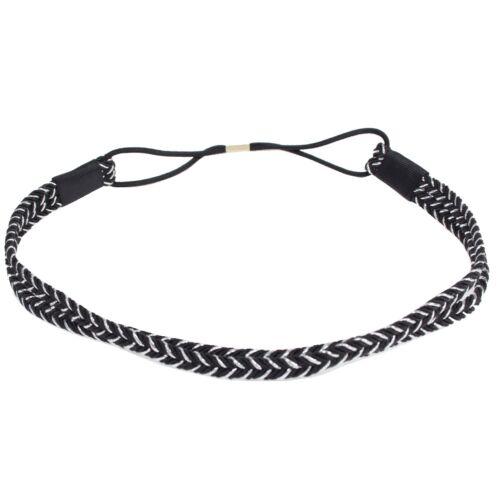 Boho Stirnband Geflochten Haarband Kopfband Hairband Haarschmuck Schwarz//Silber