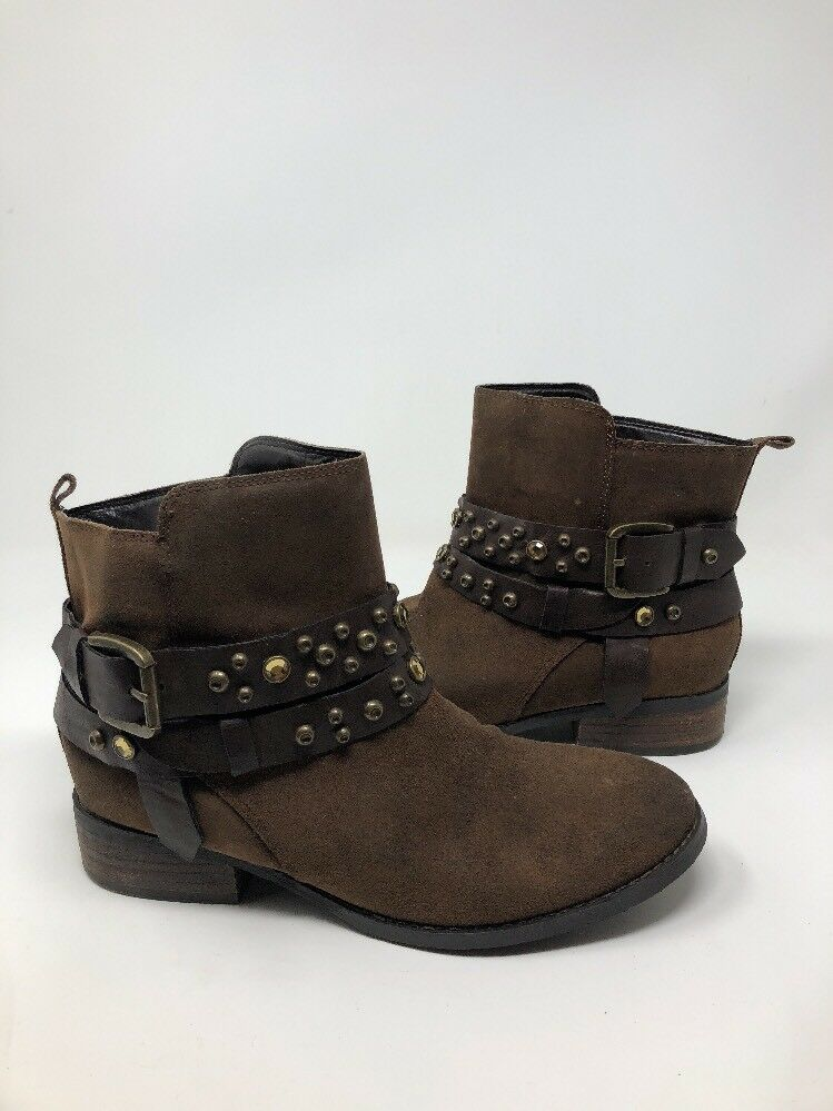 Guess Women's Brown Leather Studded Rhinestone Cowboy Ankle Boots Heels Sz 6