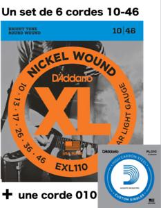 Set-6-cordes-1-D-039-Addario-EXL110-XL-10-a-46-Nickel-guitare-electrique