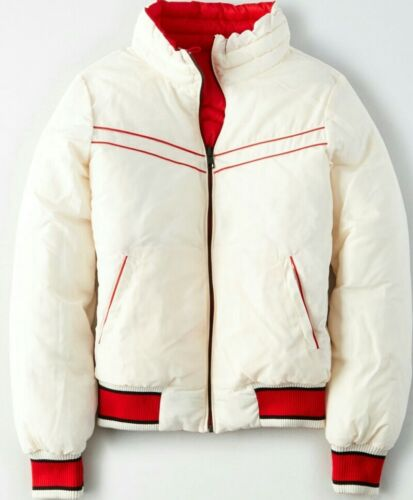 NWT American Eagle Outfitters AEO Womens Reversible Puffer Jacket red//Ivory Med