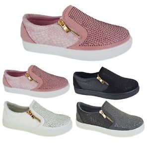 WOMENS COMFORT EVERYDAY FLAT CANVAS SPORT TRAINERS LADIES RUNNING SHOES SIZE 3-8