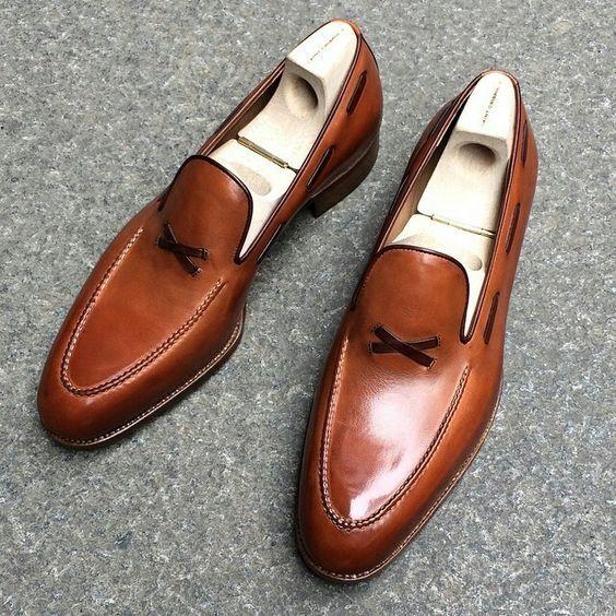 Zapatos De Cuero nuevo Hecho a Mano Hombres Cuero Marrón Tostado Zapatos Para Hombres Formal