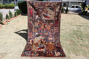 Vintage-Shikarga-with-Portriat-Tribal-Belouch-Wall-Hanging-Carpet