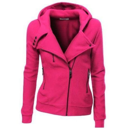 Women Zip Up Hoodies Sweatshirt Hooded Jacket Coat Tops Outwear Sport Slim Hoody