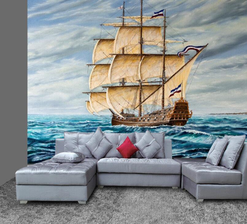 3D SegelStiefel Ozean 85 Tapete Wandgemälde Tapete Tapeten Bild Familie DE    Spezielle Funktion    Sehr gute Qualität    Merkwürdige Form