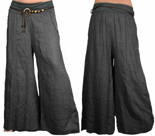 Femmes Large Lin superposé Harem Pantalon D/'été 34 36 38 40 42 S M L Plage Blanc
