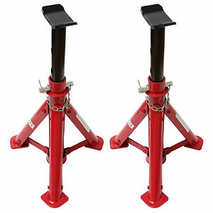 Folding Jack Stands >> Heavy Duty Red 2 Ton/2T Folding Car/Garage Axle/Jack Stands Pair/Set of Two/2