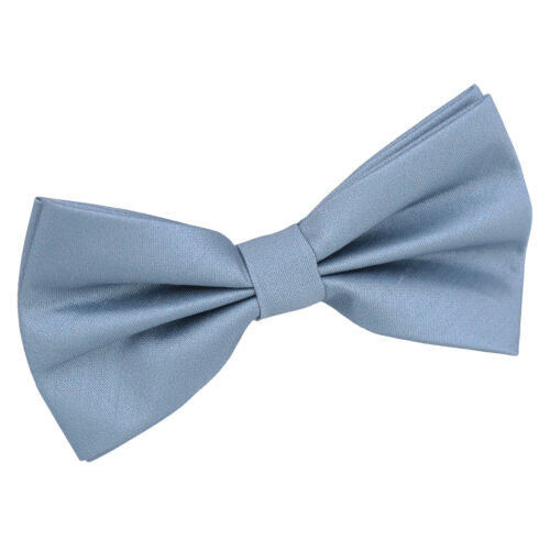 Dusty Blue Mens Pre-Tied Bow Tie Hanky Cufflinks Plain Shantung by DQT