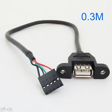 1pc Black 30cm/1ft USB Internal 5 Pin Header to USB A Female Jack Adapter Cable