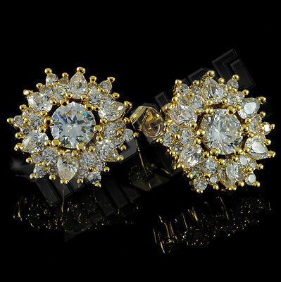 18K Gold Plated ICED OUT Cluster Simulated Diamond Round Stud Micropave Earrings