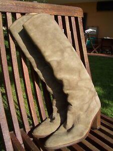 Stivali-VERA-PELLE-CAMOSCIO-beige-e-VERO-CUOIO-N-38-Genuine-chamois-boots