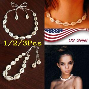 Boho-Bohemian-Sea-Shell-Beaded-Pendant-Chain-Choker-Necklace-Women-Beach-US-ENV