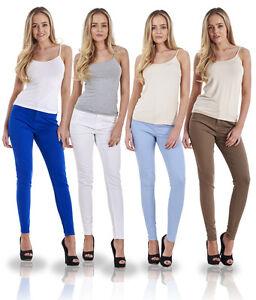 Ladies-Slim-Fit-Jeggings-Coloured-Stretch-Plain-Skinny-Denim-Plus-Size-Jeans
