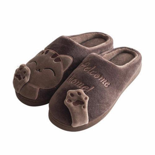 !Hausschuhe Schuhe Zuhause Cartoon Katze weich Paar Boden Cotton Fleece Gummi