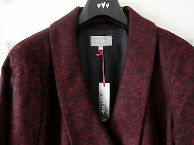 M&S Per Una Claret Colour SZ 12 Wool Blend Double Breasted Coat, BNWT, Was £99