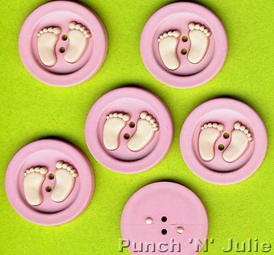 PINK BABY GIRL FEET Sew Fun Collection Sewing Novelty Dress It Up Craft Buttons