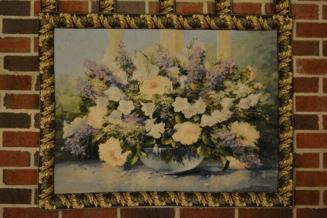 33 x 24 Inch Woven Floral Flowers Bouquet Tapestry Wall Hanging Art Home Decor