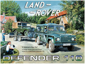 Land-Rover-Defender-110-amp-S-1-su-Rimorchio-Grande-Acciaio-Segno-400mm-x-300mm